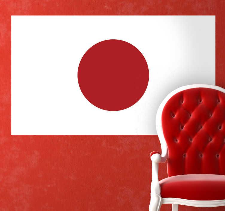 TenStickers. Adesivo murale bandiera Giappone. Sticker decorativo che raffigura la bandiera nazionale nipponica. Un pallino rosso su campo bianco a simboleggiare il noto paese del sol levante.