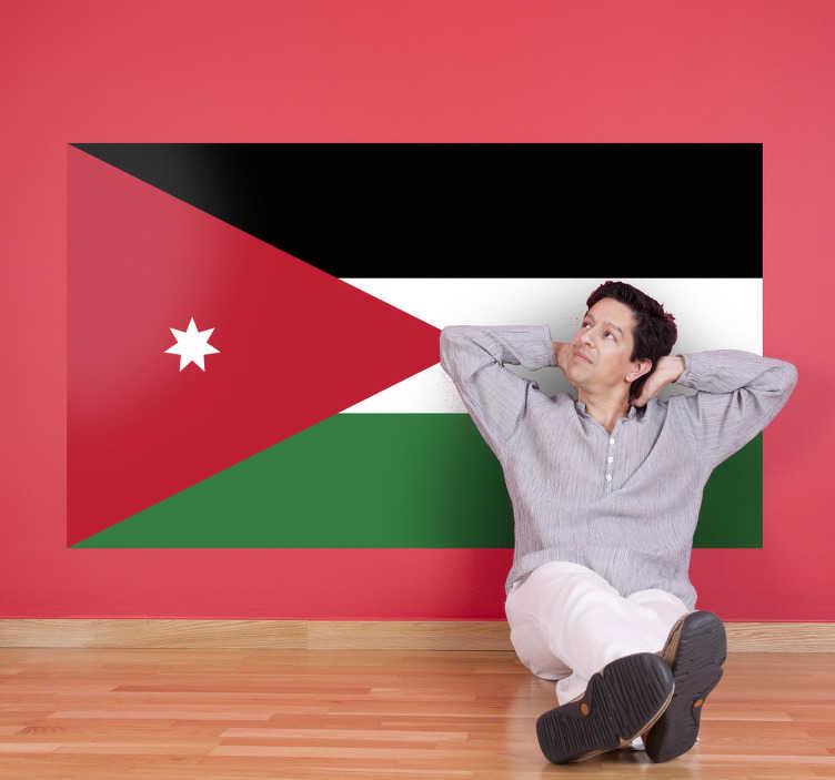 TenStickers. Autocollant mural drapeau Jordanie. Stickers adhésif du drapeau de la Jordanie qui a pour capitale Amman, pour tous les amoureux de ce pays.