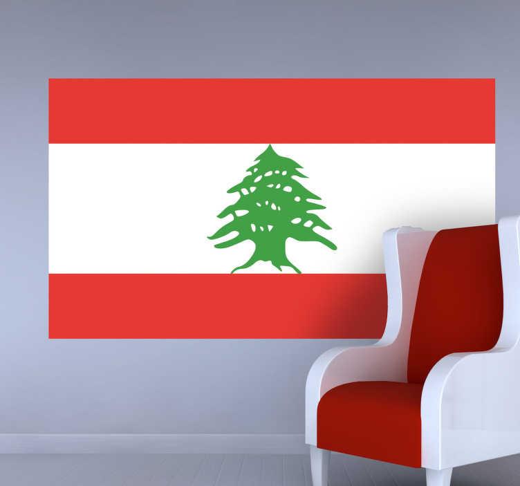 TenStickers. Naklejka flaga Libanu. Naklejka na ścianę z flagą Libanu. Umieść dekorację w pomieszczeniach domowych lub biznesowych. Naklejki są dostępne w różnych rozmiarach, wykonane z niezapowietrzającego się materiału winylowego, trwałego i łatwego w aplikacji.