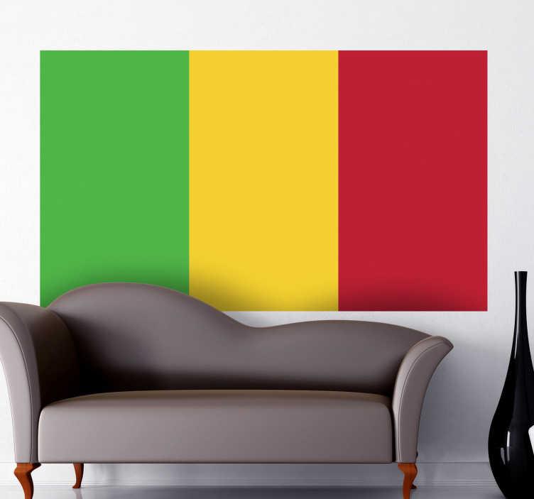 TenStickers. Wandtattoo Flagge Mali. Dekorieren Sie Ihr Zuhause mit dieser tollen Flagge von Mali als Wandtattoo! Damit zeigen Sie Ihre Leidenschaft zu dem Land in Afrika.