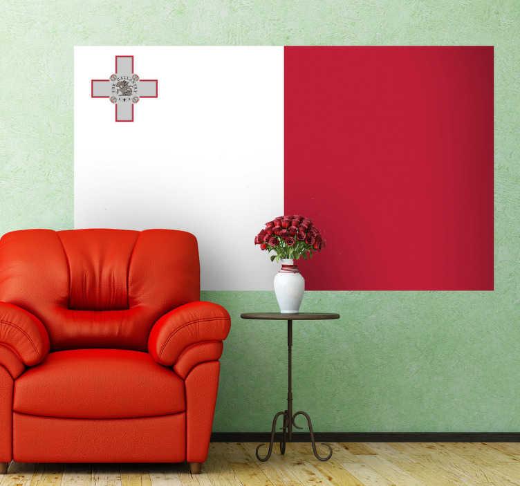 TenStickers. Naklejka flaga Malty. Naklejka na ścianę z flagą Malty. Umieść dekorację w pomieszczeniach domowych lub biznesowych.