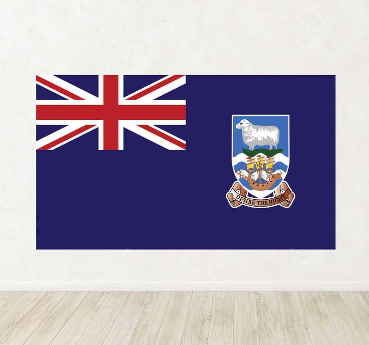 TenStickers. Falkland Eiland Vlag Muursticker. Deze muursticker beeldt de vlag van de Falklandeilanden af. Verkrijgbaar in verschillende afmetingen. Ook voor ramen en auto's.