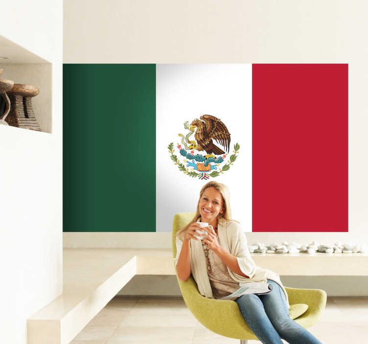 TenStickers. Adesivo murale bandiera Messico. Sticker decorativo che raffigura la bandiera del Messico, il noto stato nordamericano con capitale a Città del Messico.