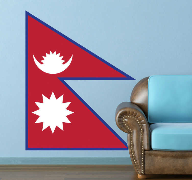 TenStickers. Wandtattoo Flagge Nepal. Dekorieren Sie Ihr Zuhause mit dieser tollen Flagge von Nepal als Wandtattoo! Damit zeigen Sie Ihre Leidenschaft zu dem Land