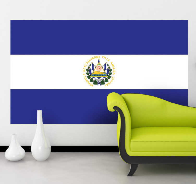 TenStickers. Naklejka Flaga Salwadoru. Naklejka na ścianę z flagą Salwadoru. Umieść dekorację w pomieszczeniach domowych lub biznesowych.