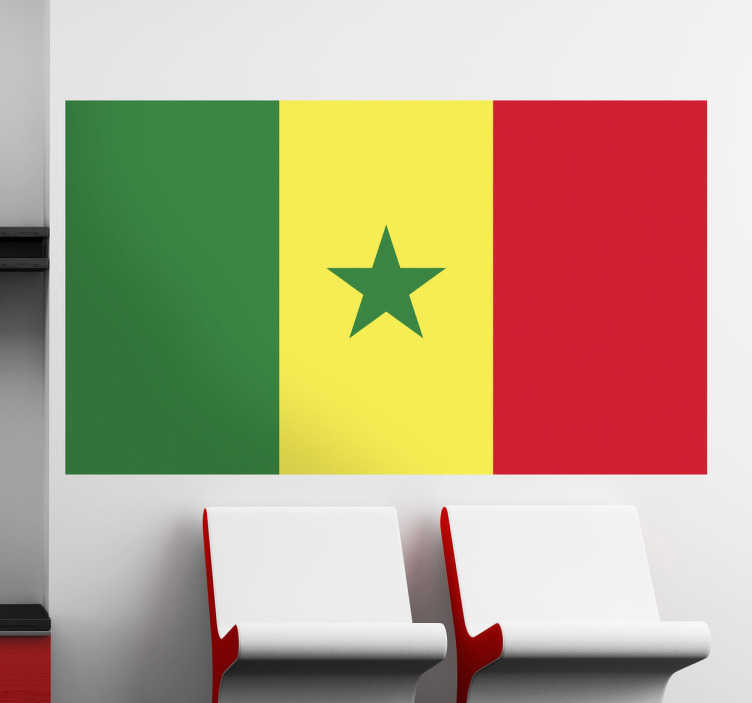 TenStickers. Wandtattoo Flagge Senegal. Gestalten Sie Ihr Zuhause mit der Flagge aus dem Senegal als Wandtattoo.Drei gleich große vertikale Streifen (grün, gelb, rot)