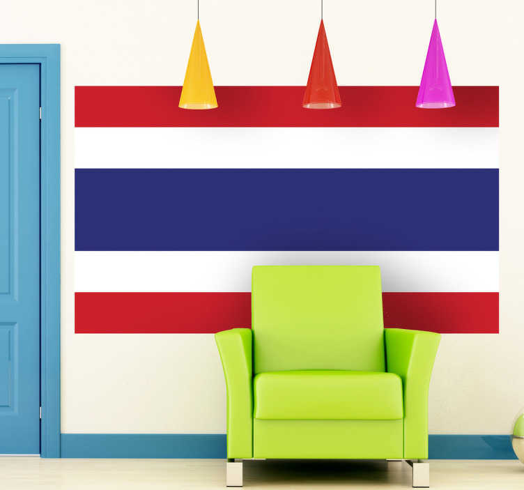 TenStickers. Thailand Flag Sticker. Decals - The Thai flag. The Kingdom of Thailand - located in Southeast Asia. Ideal for homes or businesses.