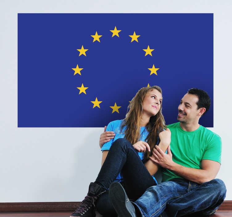 TenVinilo. Vinilo decorativo bandera UE. Característico símbolo de la comunidad ecónomica europea en adhesivo con las estrellas formando un círculo sobre fondo azul.