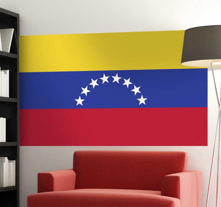 TenStickers. Naklejka flaga Wenezuelii. Naklejka na ścianę z flagą Wenezueli. Umieść dekorację w pomieszczeniach domowych lub biznesowych.