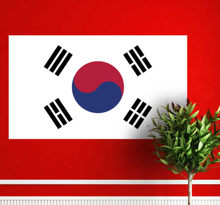 TenStickers. South Korea Flag Sticker. Decals - The South Korean flag.  Ideal for homes or businesses. Suitable for personalising gadgets and appliances. Available in various sizes.