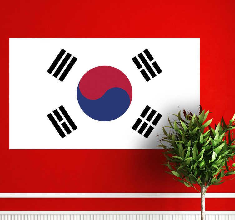 TenStickers. Nalepka zastave južne koreje. Nalepke - južnokorejska zastava. Idealno za domove ali podjetja. Primeren za personalizacijo pripomočkov in aparatov. Na voljo v različnih velikostih.
