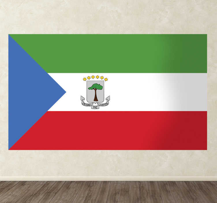 TenStickers. Equatorial Guinea Flag Sticker. Decals - The Equatorial Guinean flag. Ideal for homes or businesses. Suitable for personalising gadgets and appliances. Available in various sizes.
