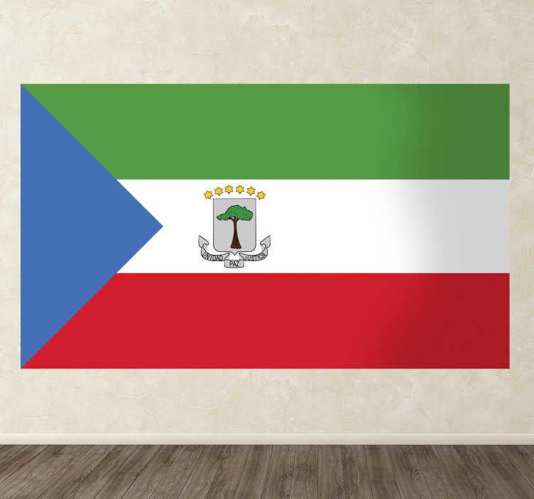 TenStickers. Autocollant mural drapeau Guinée Équatoriale. Stickers adhésif du drapeau du Guinée Équatoriale qui a pour capitale Malabo, pour tous les amoureux de ce pays.