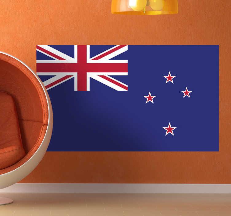 TenStickers. Naklejka flaga Nowej Zelandii. Naklejka na ścianę z flagą Nowej Zelandii. Umieść dekorację w pomieszczeniach domowych lub biznesowych.