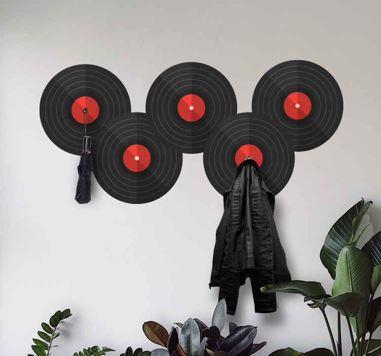 Image of Adesivo murale appendiabiti Ombrelli per dischi in vinile