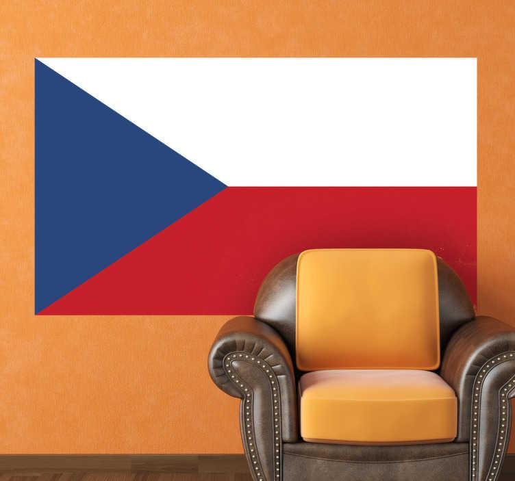 TenStickers. Sticker drapeau République Tchèque. Stickers représentant le drapeau de la République Tchèque.Élément déco obligatoire pour les amoureux de ce pays !