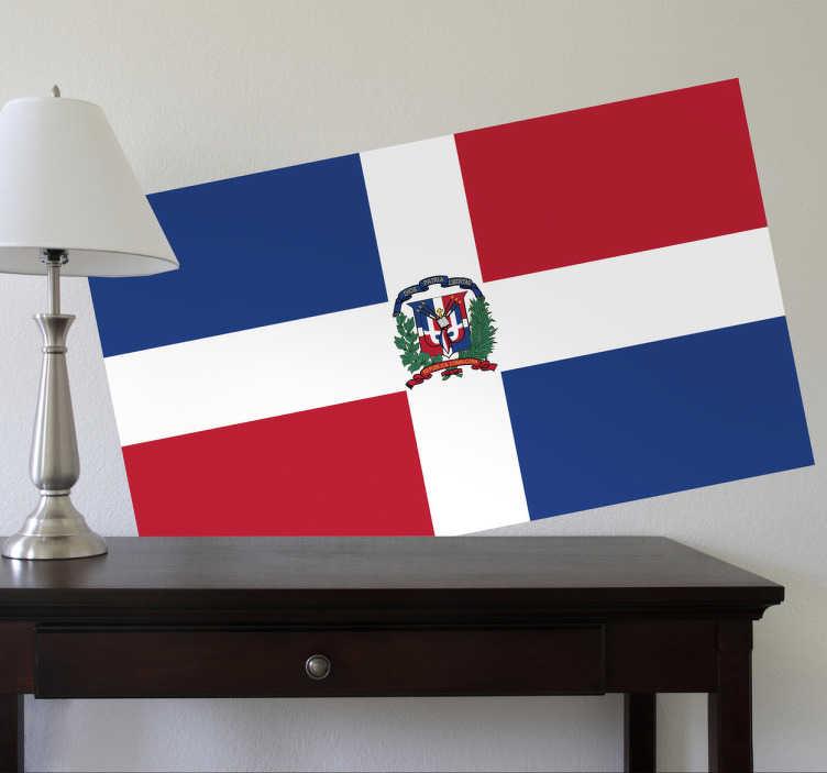 TenStickers. Naklejka flaga Dominikany. Naklejka na ścianę z flagą Republiki Dominikany. Umieść dekorację w pomieszczeniach domowych lub biznesowych.