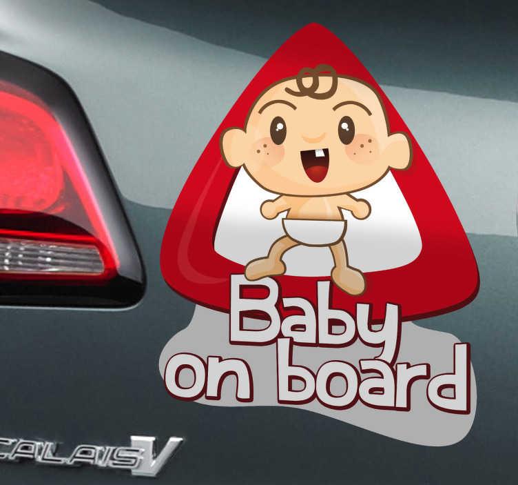 TenVinilo. Adhesivo auto baby on board. Pegatina de un lindo bebé con el que advertirás al resto de vehículos que vayan con cuidado.