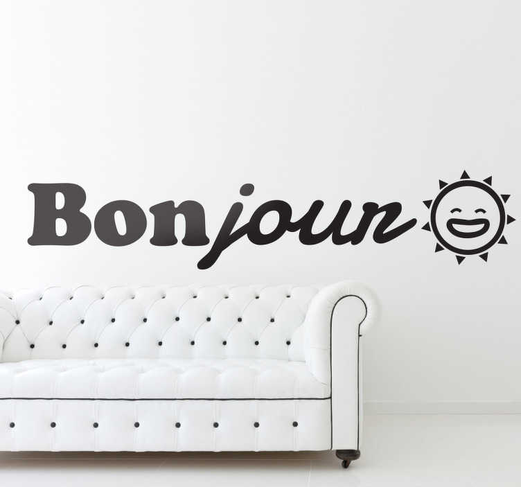 TenStickers. Bonjour Decorative Sticker. Wish yourself a good day with this positive decal in French. A fantastic way to feel motivated at any time of the day!