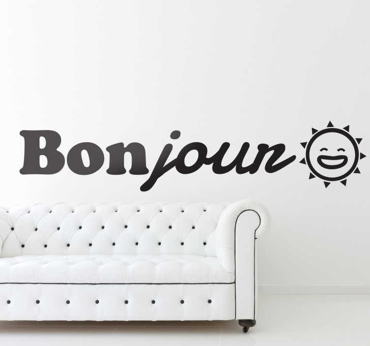 TenStickers. Naklejka Bonjour. Przywitaj się z gośćmi we francuskim stylu! Napis dekoracyjny Bonjour wraz z uśmiechnietym słońcem każdego dnia będzie dodawać promieni twoim wnetrzom.