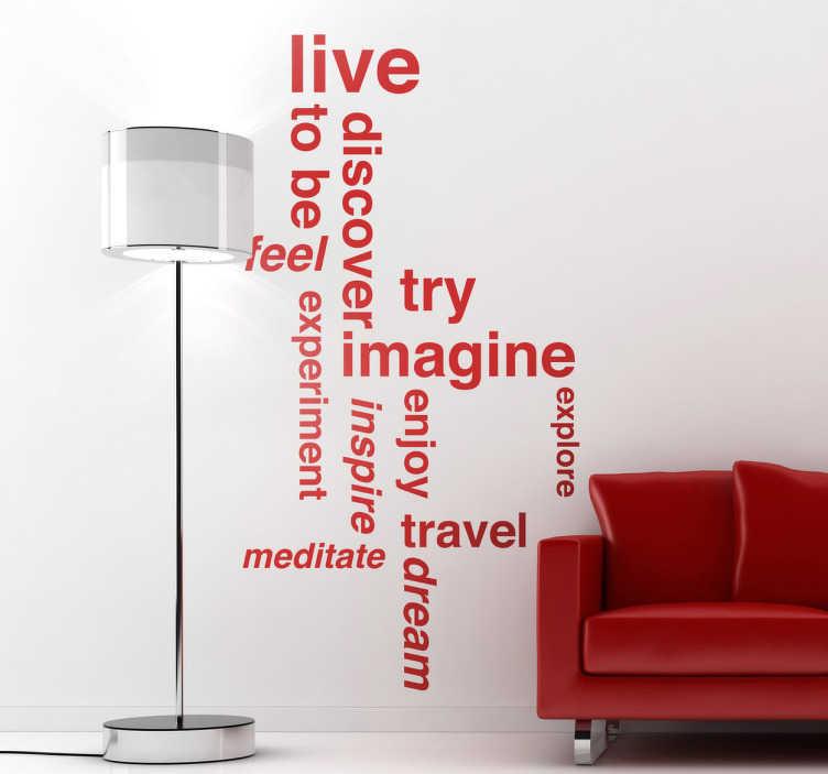 TenStickers. Wallstickers tekst motivation. En fantastisk sticker med motiverende engelske ord, til at give dit hjem et personligt præg og en fantastisk atmosfære. Klistermærket fås i 50 farver