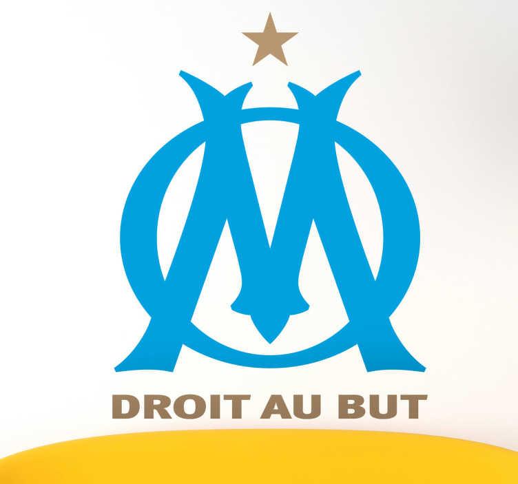 """TenVinilo. Adhesivo escudo Olympique de Marseille. Emblema en vinilo decorativo del histórico club francés con su lema """"droit au but""""."""