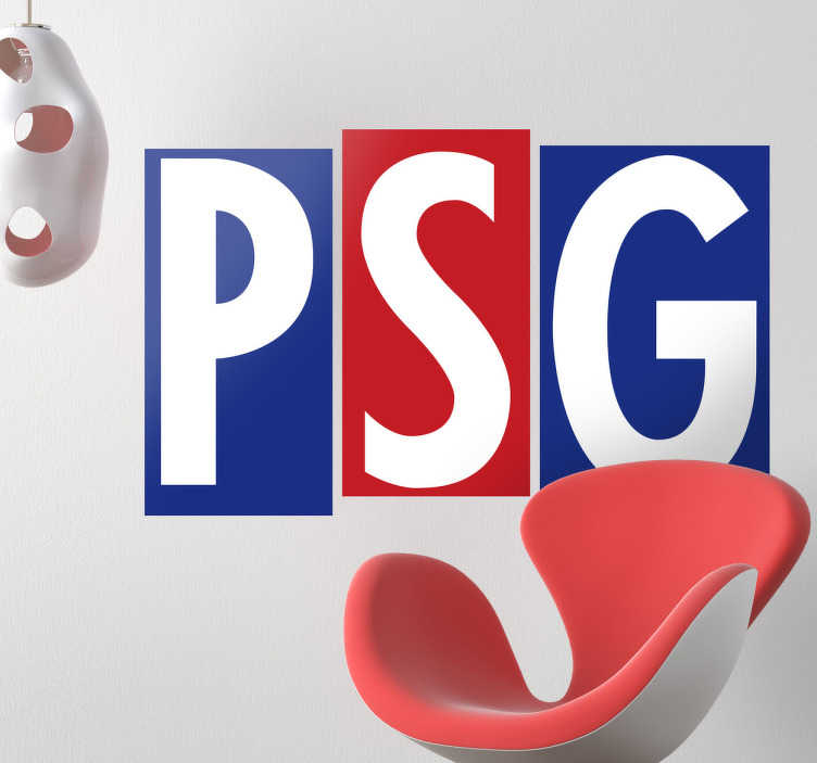 TenStickers. Sticker foot Paris-Saint-Germain. Les trois lettres du Paris Saint-Germain sur ce sticker rouge et bleu aux couleurs de l'équipe pour personnaliser votre espace.