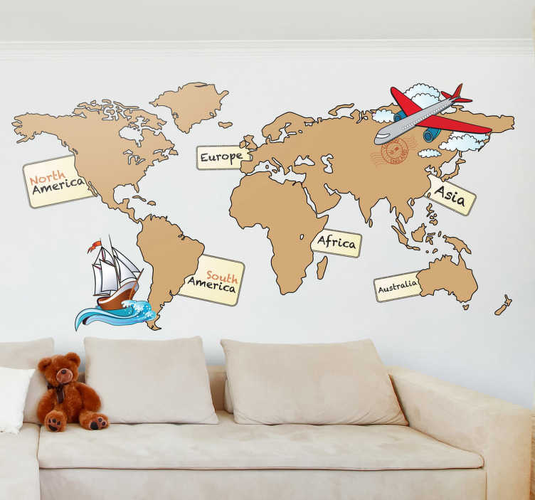 TenStickers. Sticker wereldkaart continenten engels. Een mooie muursticker van een wereldkaart met hierop de verschillende continenten afgebeeld. De namen van de continenten zijn in het Engels.