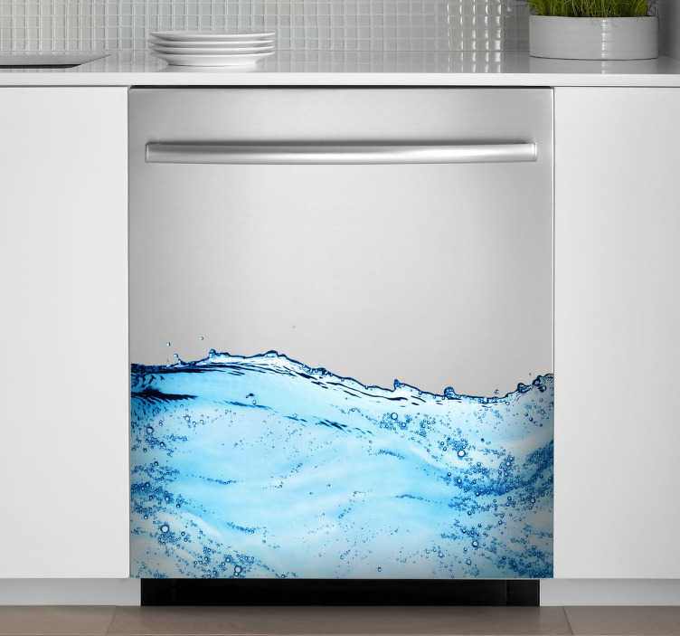 TenStickers. Clear Blue Sea Waves Dishwasher Sticker. Amazing clear blue wave design for your dishwasher.  Our dishwasher decals will give your kitchen a unique design.