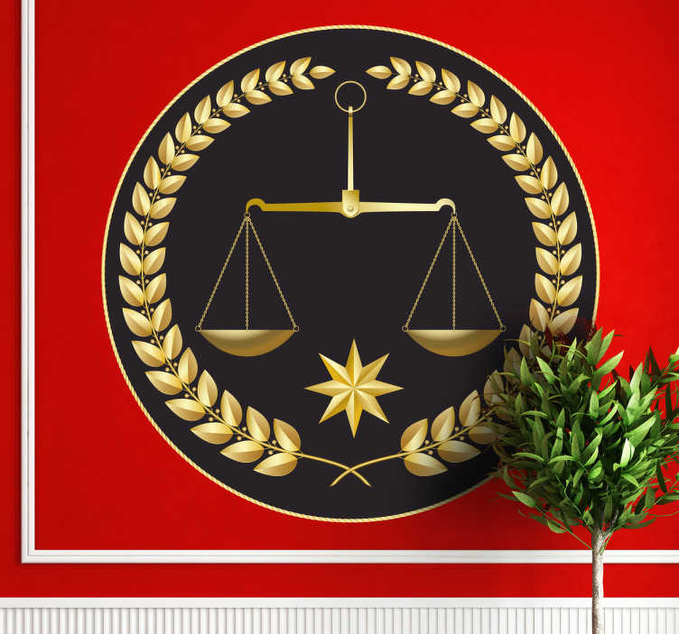 TenStickers. Scale of Justice Sticker. Are you a lawyer or work in a law related environment? If yes, then this scales wall sticker is perfect for the walls of your office. Brilliant legal scale decal with a golden colour and black background to personalise your workplace!