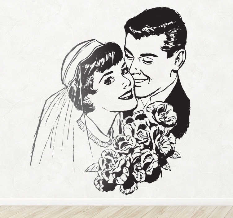 TenStickers. Vinil decorativo casamento vintage. Vinil decorativo com a ilustração efeito vintage de um noivo e de uma noiva no seu dia de casamento. Adesivo de parede para decoração de interiores.