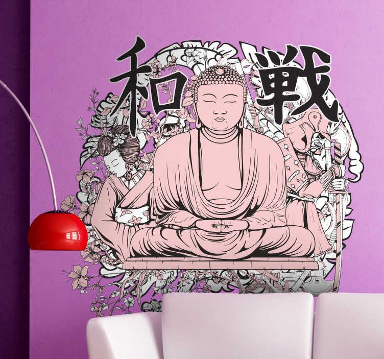 TenStickers. Naklejka dekoracyjna Budda. Naklejka inspirowana kulturą Dalekiego Wschodu, w centralnej części  znajduje się Budda, a w tle możemy dostrzec inne akcenty tamtejszej kultury.