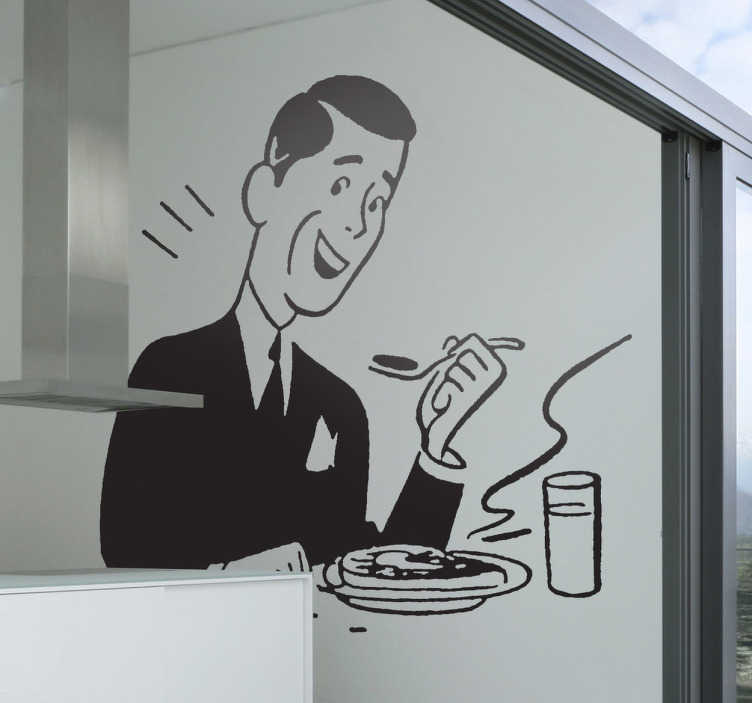 TenStickers. Naklejka radość z jedzenia. Naklejka na ścianę przedstawiająca eleganckiego mężczyznę w trakcie spożywania posiłku. Jeśli brakuje Twojej kuchni charakteru nasza naklejka będzie świetnym rozwiązaniem.