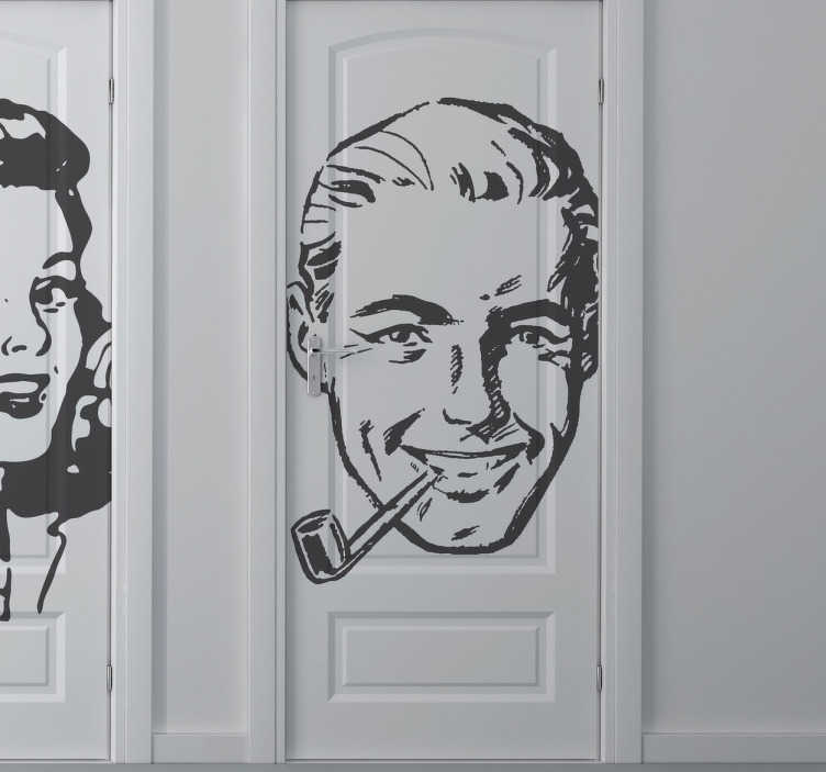 TenStickers. Vintage Man Sticker. A great vintage wall sticker illustrating a gentleman from the 40s. Let people know in an original way where the men's room is. Let people know where the men's room is in a fun and unique way.