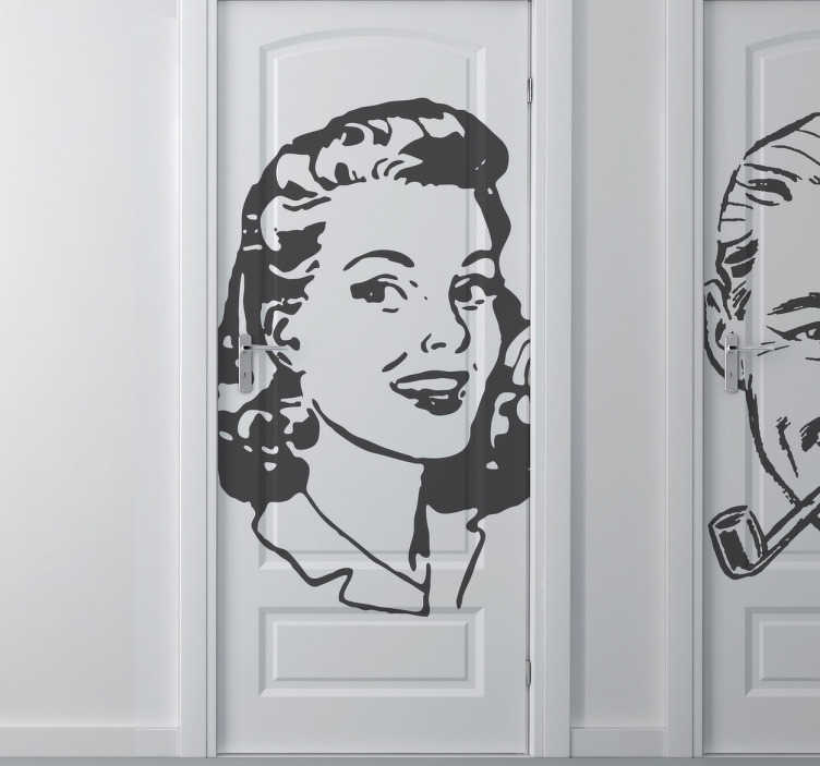 TenStickers. Vintage Woman Sticker. A superb vintage wall sticker illustrating a young lady from the 40s. A classic decal to show where the ladies room is.