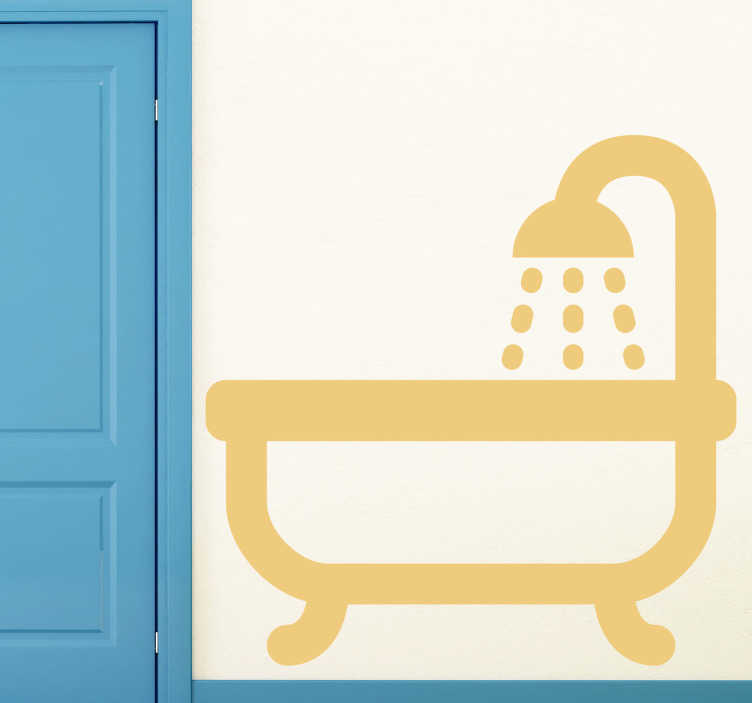 TenStickers. Bad Sticker. Mit diesem Badewannen Sticker können Sie zeigen, wo sich Ihr Bad mit Badewanne und Dusche befindet. Blasenfreie Anbringung