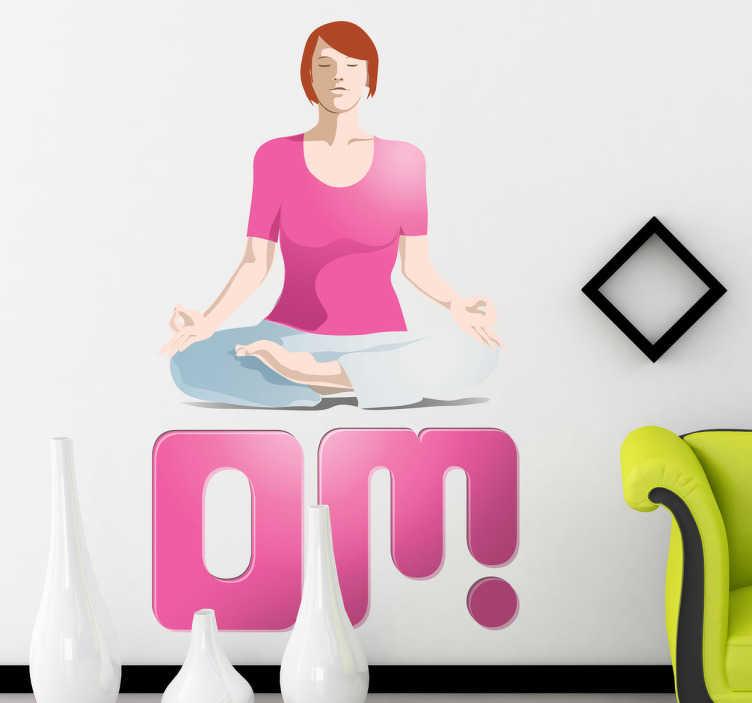 TenStickers. Naklejka joga. Naklejka na ścianę, która wprowadzi do Twego pomieszczenia odrobinę relaksu i spokoju. Ozdoba przedstawia medytującą kobietę nad tekstem 'om'.