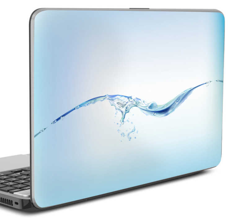 TENSTICKERS. 水の波のラップトップのステッカー. ラップトップのステッカー - ライトブルーの水のテーマのデザインは、ラップトップをカスタマイズし、埃や傷からそれを保護するのに最適です。あなたのデバイスのためのクールな落ち着いた美しさを作成するために波打つ水の表面の写真を表示する素晴らしいノートパソコンの皮膚。