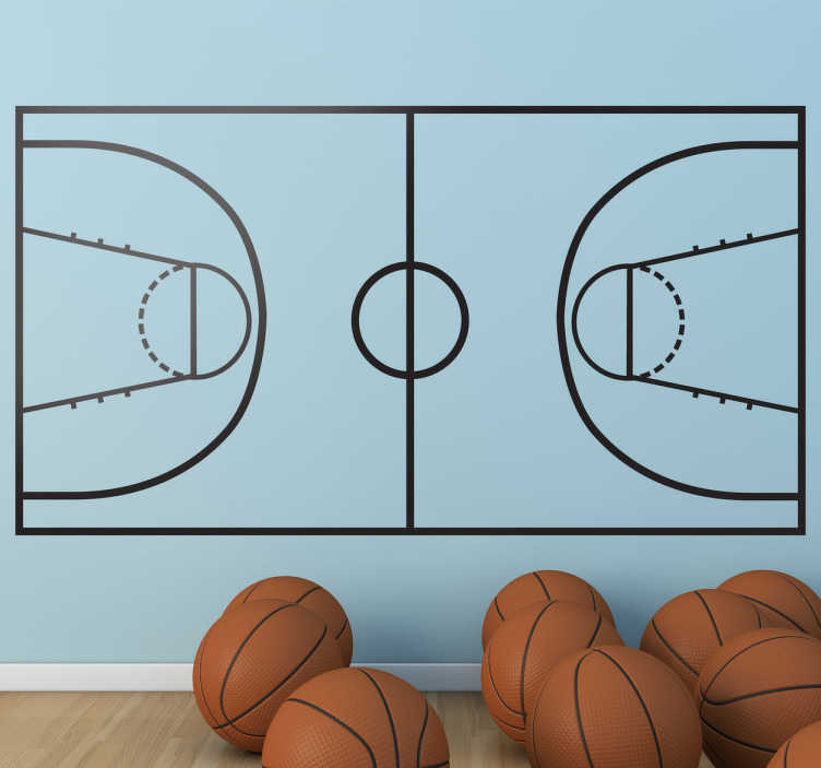 TenStickers. Basketball Court Sticker. Recreate the best attack and defence strategies with this original sticker.