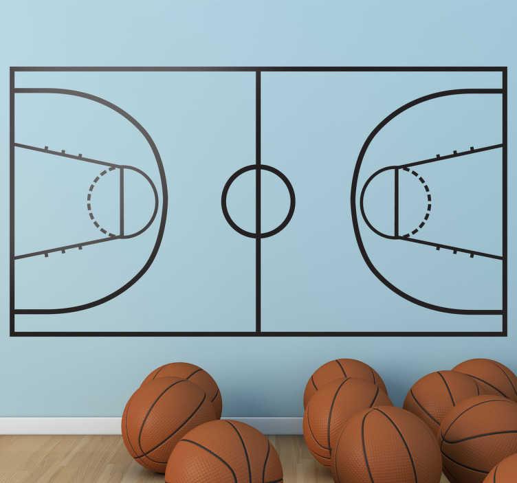 TenStickers. Sticker mural terrain basket. Personnalisez votre espace et améliorez vos tactiques grâce à ce terrain de basket sur sticker.