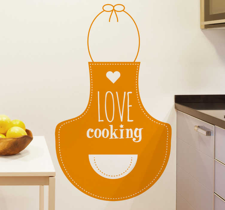TenStickers. Love Cooking Apron Sticker. Exclusive drawing for tenstickers.co.uk by Dia for lovers of cooking.