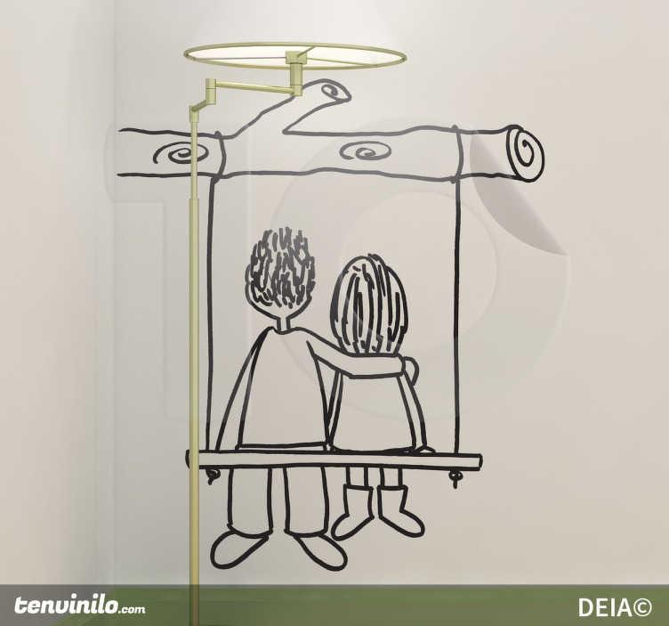 TenStickers. Sticker decorativo in altalena di spalle. Adesivo murale che raffigura due amanti abbracciati che stanno seduti su un'altalena. Un disegno originale di Deia.