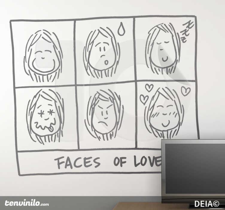 TenStickers. 사랑 일러스트의 얼굴 스티커. 사랑에 여자의 다른 얼굴을 가진 deia에 의해 그림. 집에 로맨스와 유머 감각을 더할 수있는 재미있는 디자인.