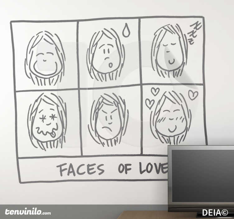 TenStickers. 爱的面孔图贴纸. Deia与一个恋爱中的女孩的不同面孔的插图。一个有趣的设计,可以为您的家增添浪漫和幽默感。