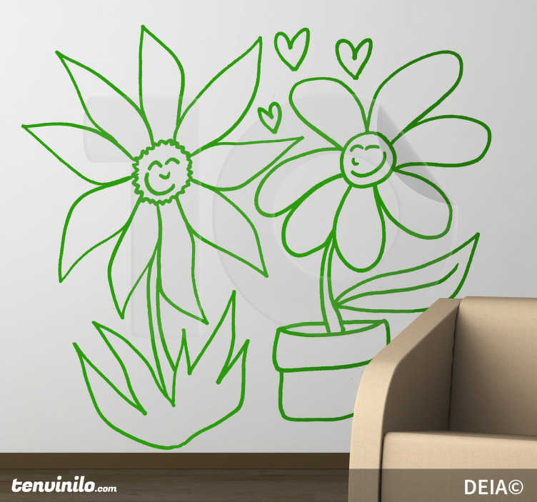 TenStickers. Wild and Pot Flower Love Decal. Original illustration by Spanish artist DEIA. Love between two flowers a wild flower and potted flower. Design from our daisy wall stickers set!