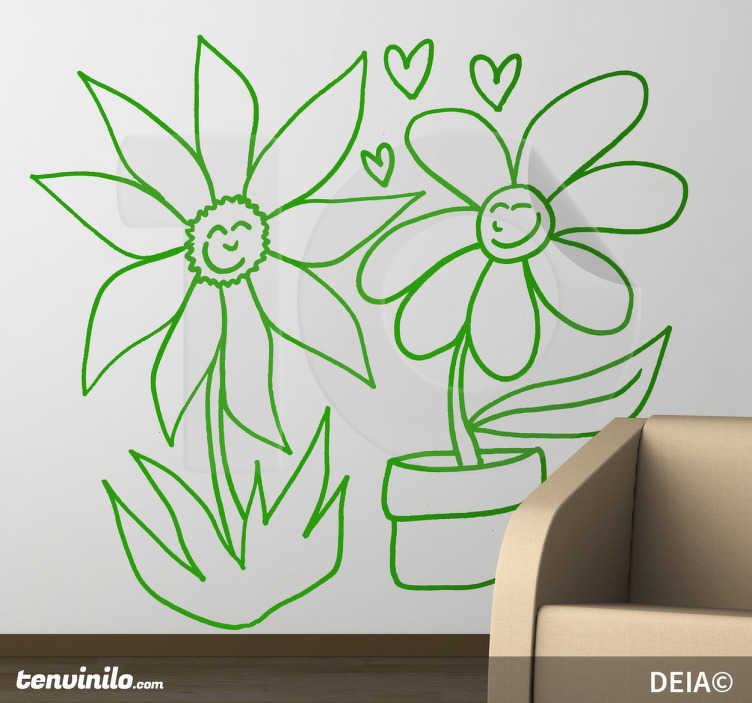 TenStickers. Sticker salon amour marguerites. Stickers mural représentant deux fleurs s'envoyant des coeurs. Réalisé par l'illustratrice DEIA.