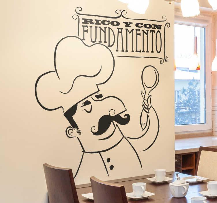 TenVinilo. Vinilo decorativo rico y con fundamento. Adhesivo con un dibujo original de un cocinero que recuerda al famoso Arguiñano.