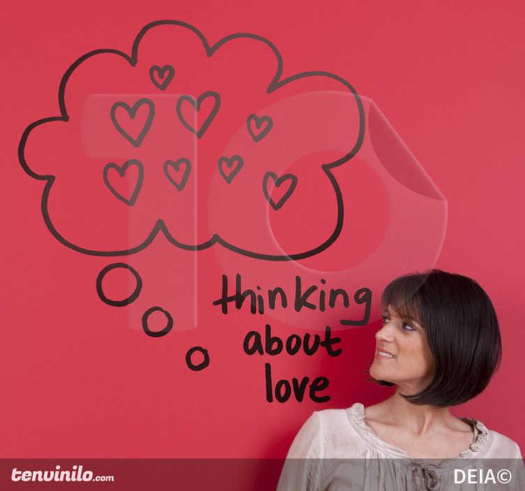 TenStickers. Sticker decorativo thinking about love. Un romantico adesivo murale per chi pensa all'amore. Un disegno originale di Deia.
