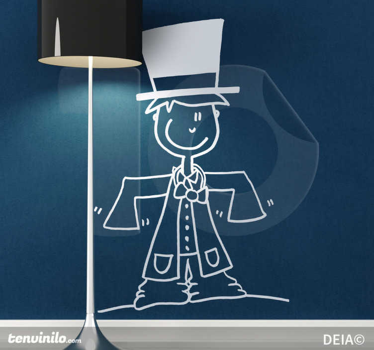 TenStickers. Sticker enfant en costume. Stickers illustrant un enfant avec un costume beaucoup trop grand pour lui et un chapeau. Illustration originale par DEIA.