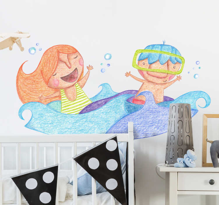 TenStickers. Children Playing in Water Sticker. Colourful illustration by cartoonist Bonita del Norte of two children having fun in the sea.